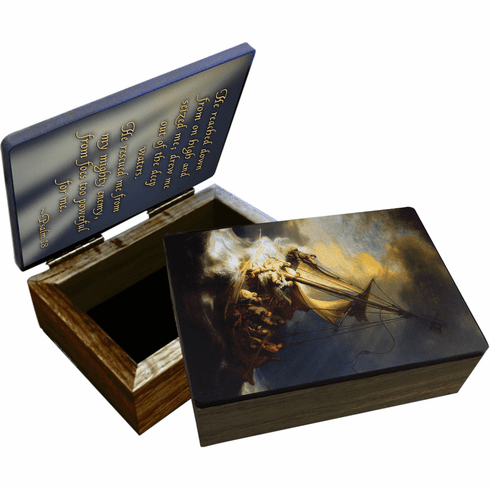 Nelson's Storm at the Sea of Galilee Wooden Rosary and Keepsake Box