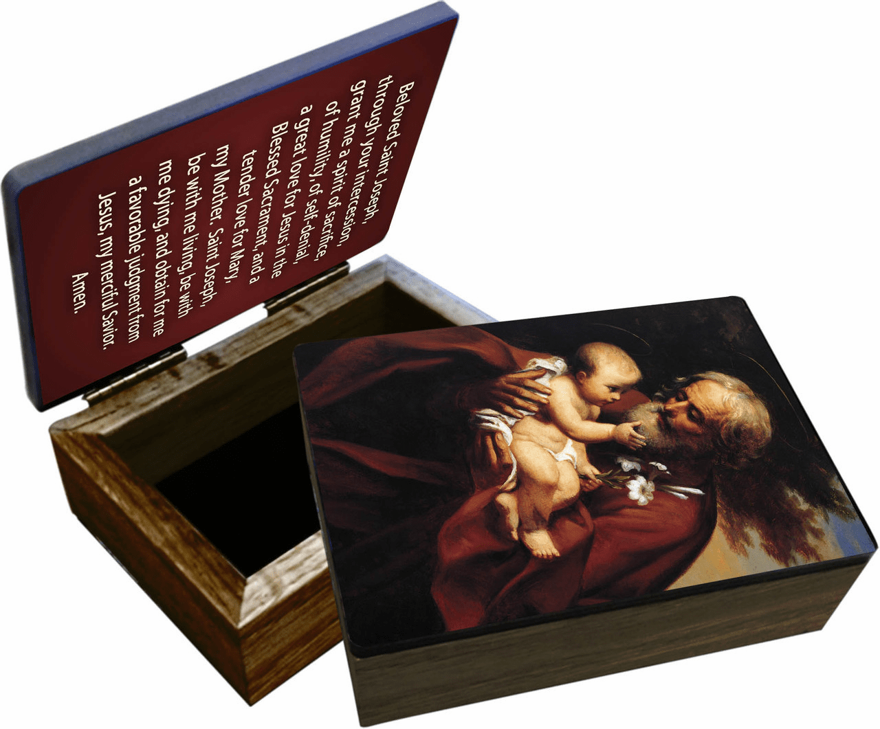 Nelson's The Older Patron Saint Joseph Wooden Rosary and Keepsake Box