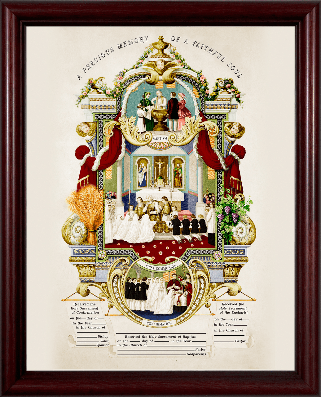 Nelson's Traditional Sacraments of Initiation Record Certificate in Cherry Frame Wall Picture