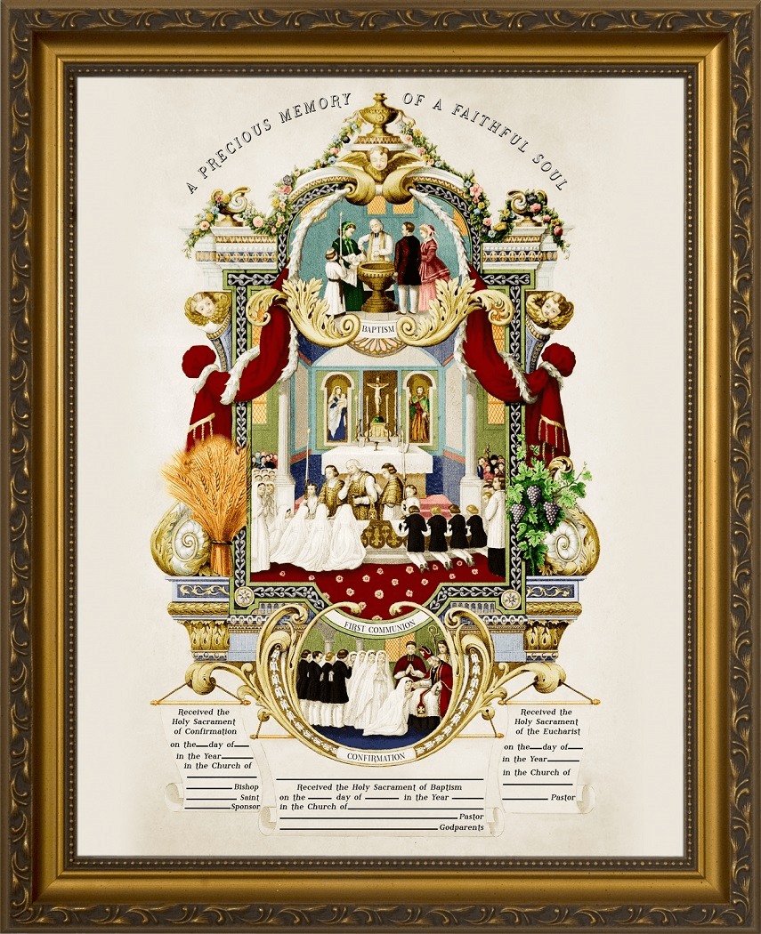 Nelson's Traditional Sacraments of Initiation Record Certificate in Gold Frame Wall Picture