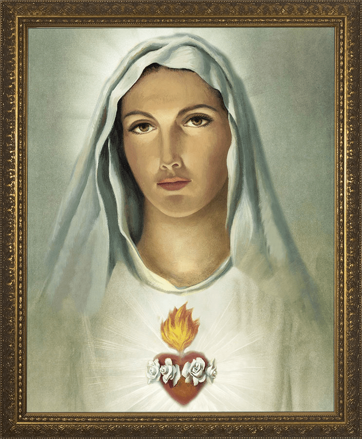 Nelson Traditional Immaculate Heart of Mary Gold Framed Wall Art Picture