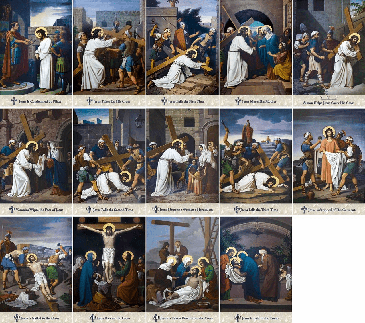 Nelsons Emmerich Outdoor Stations of the Cross Aluminum Plates 14pc Set