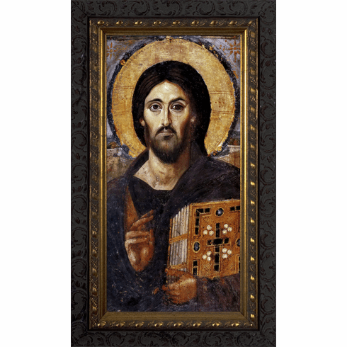 Nelsons Gifts Christ Pantocrator Icon Ornate Dark Framed Wall Art Picture