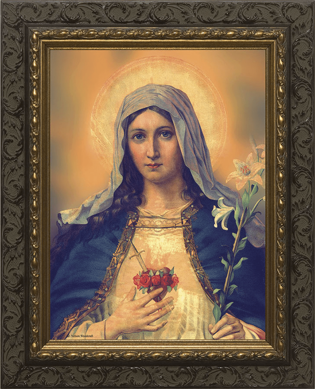 Nelsons Gifts Immaculate Heart of Mary Ornate Dark Framed Wall Art Picture