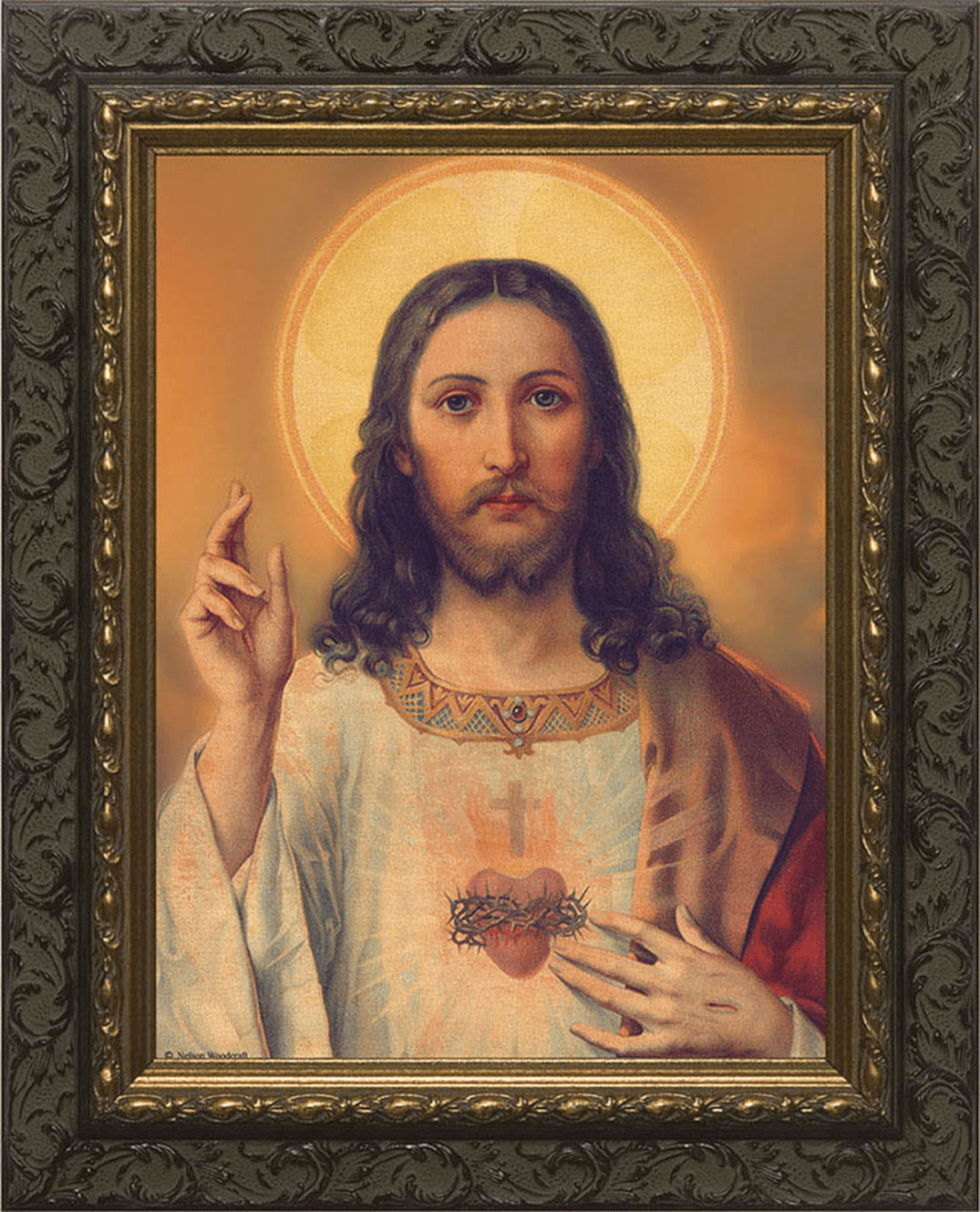 Nelsons Gifts Sacred Heart of Jesus Ornate Dark Framed Wall Art Picture