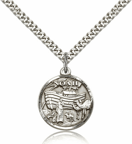 Noah Ark Sterling Silver Medal Necklace with Chain by Bliss