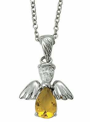 November Birthstone Angel Wing Sterling Silver Necklace