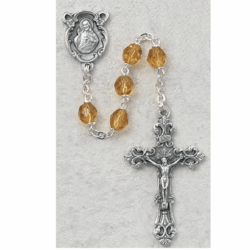 November Topaz Birthstone Crystal Prayer Rosary w/Sacred Heart by McVan