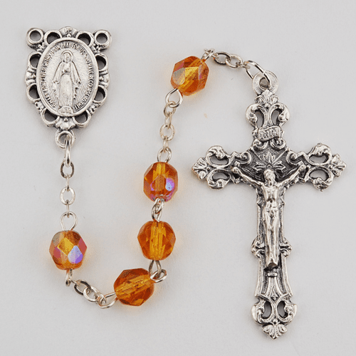 November Topaz Birthstone Crystal Prayer Rosary w/Scallop Miraculous by McVan