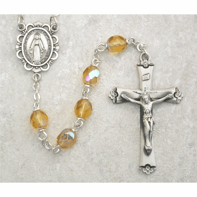 November Topaz Birthstone Crystal Sterling Silver Prayer Rosary by McVan