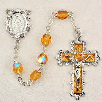 November Topaz Crystal Birthstone Prayer Rosary by McVan