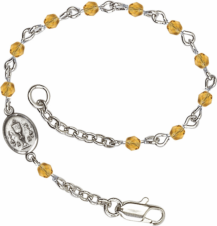 November Topaz Fire Polished Beads w/Pewter Communion Chalice Charm Bracelet by Bliss Mfg
