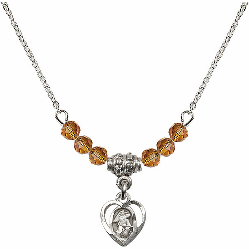 November Topaz Guardian Angel Heart Charm with 6 Crystal Bead Necklace by Bliss Mfg