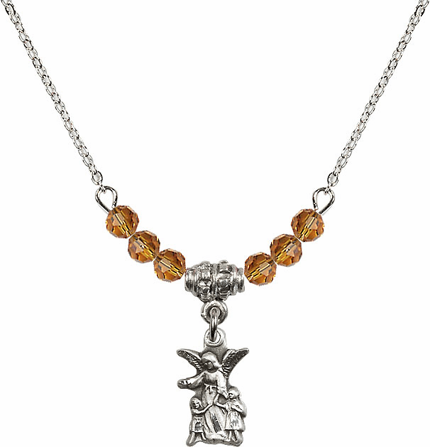 November Topaz Littlest Angel Charm with 6 Crystal Bead Necklace by Bliss Mfg