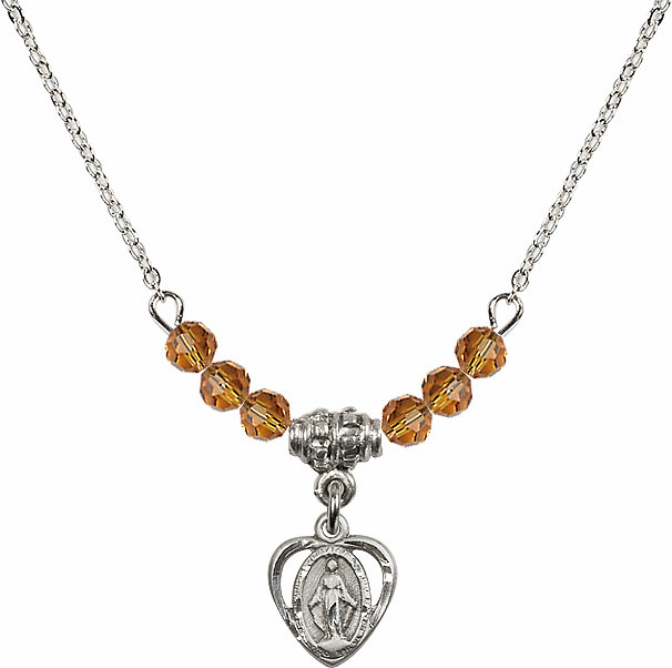 November Topaz Miraculous Heart Charm with 6 Crystal Bead Necklace by Bliss Mfg