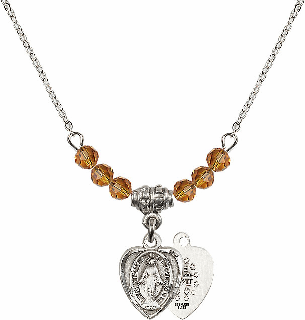 November Topaz Miraculous Heart Shaped Charm with 6 Crystal Bead Necklace by Bliss Mfg