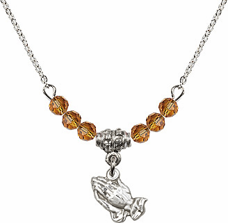 November Topaz Praying Hands Charm with 6 Crystal Bead Necklace by Bliss Mfg
