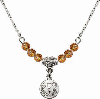 November Topaz Round Chalice Charm with 6 Crystal Bead Necklace by Bliss Mfg