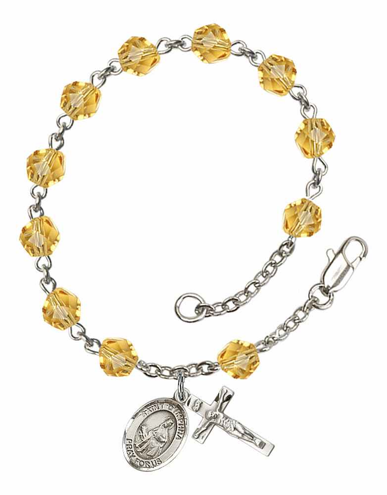 November Topaz St Dymphna Birthstone Rosary Bracelet by Bliss