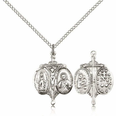 Novena Sterling Silver Pendant Necklace with Chain by Bliss
