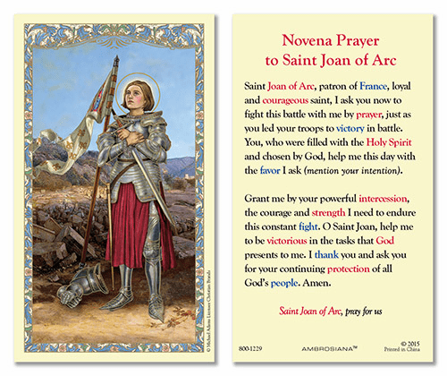 Novena to St Joan of Arc Laminated Gerffert 25pkg Holy Cards
