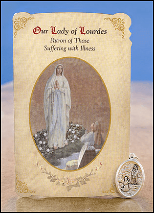 O/L Lourdes & St Bernadette Illness Healing Holy Cards w/Medals 6 pcs by Milagros