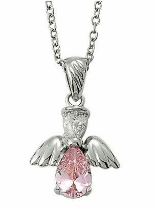 October Birthstone Angel Wing Sterling Silver Necklace