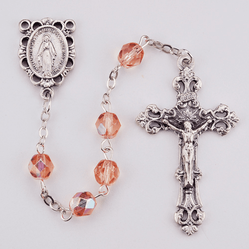 October Rose Birthstone Crystal Prayer Rosary w/Scallop Miraculous by McVan