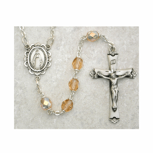 October Rose Birthstone Crystal Sterling Silver Prayer Rosary by McVan