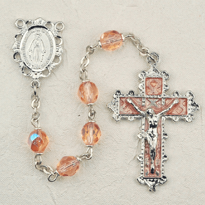 October Rose Crystal Birthstone Prayer Rosary by McVan