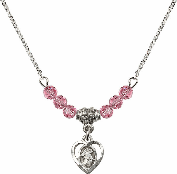 October Rose Guardian Angel Heart Charm with 6 Crystal Bead Necklace by Bliss Mfg