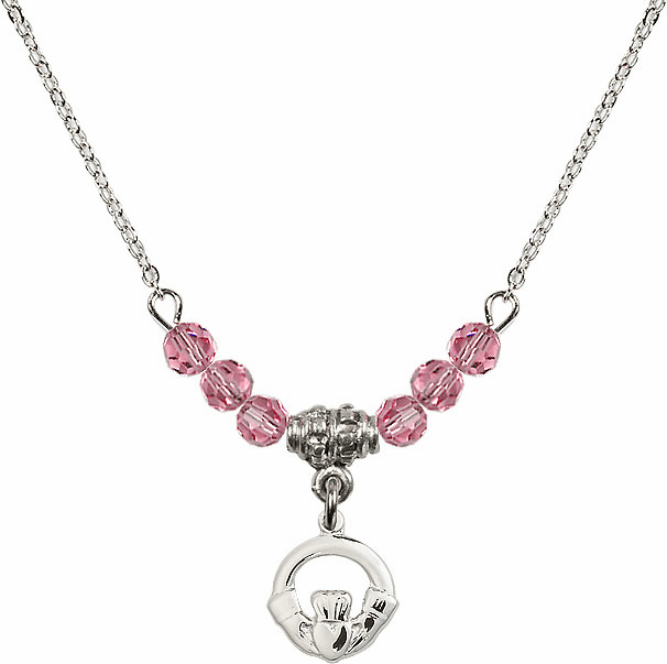 October Rose Irish Claddagh Charm with 6 Crystal Bead Necklace by Bliss Mfg