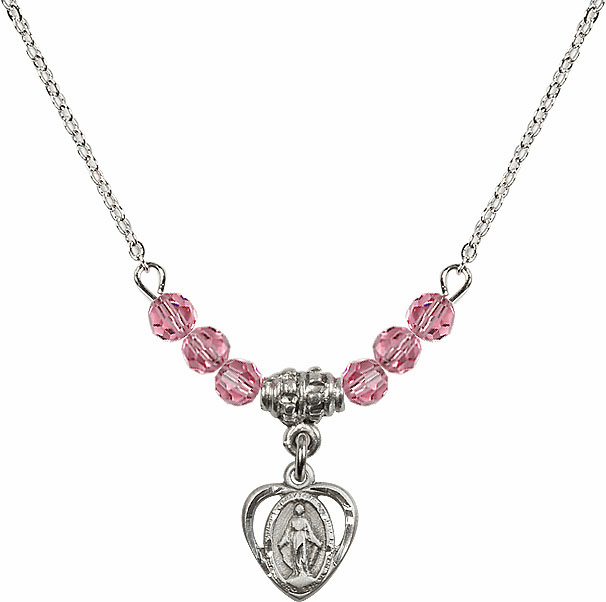 October Rose Miraculous Heart Charm with 6 Crystal Bead Necklace by Bliss Mfg