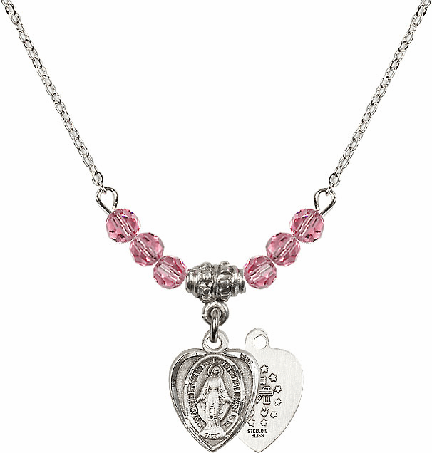 October Rose Miraculous Heart Shaped Charm with 6 Crystal Bead Necklace by Bliss Mfg