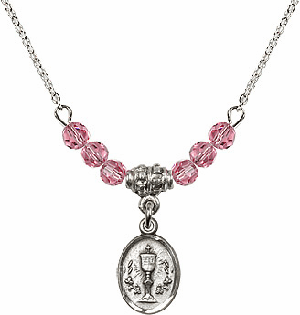 October Rose Oval Chalice Charm with 6 Crystal Bead Necklace by Bliss Mfg