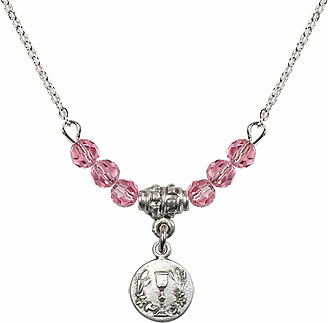 October Rose Round Chalice Charm with 6 Crystal Bead Necklace by Bliss Mfg