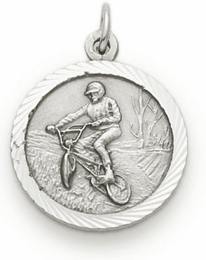Off Road Bike Riding Sterling Silver with Cross Necklace