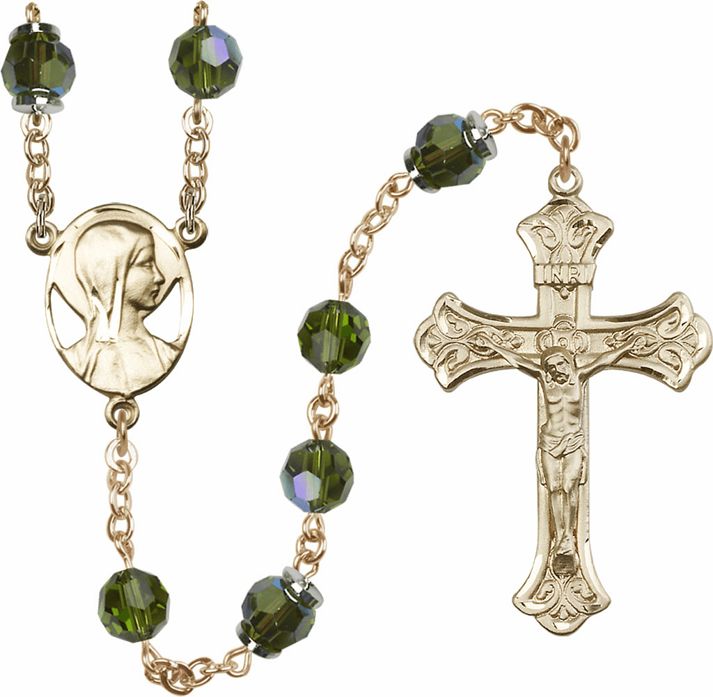 Olive Swarovski 8mm Aurora Borealis Crystal 14kt Gold Rosary by Bliss