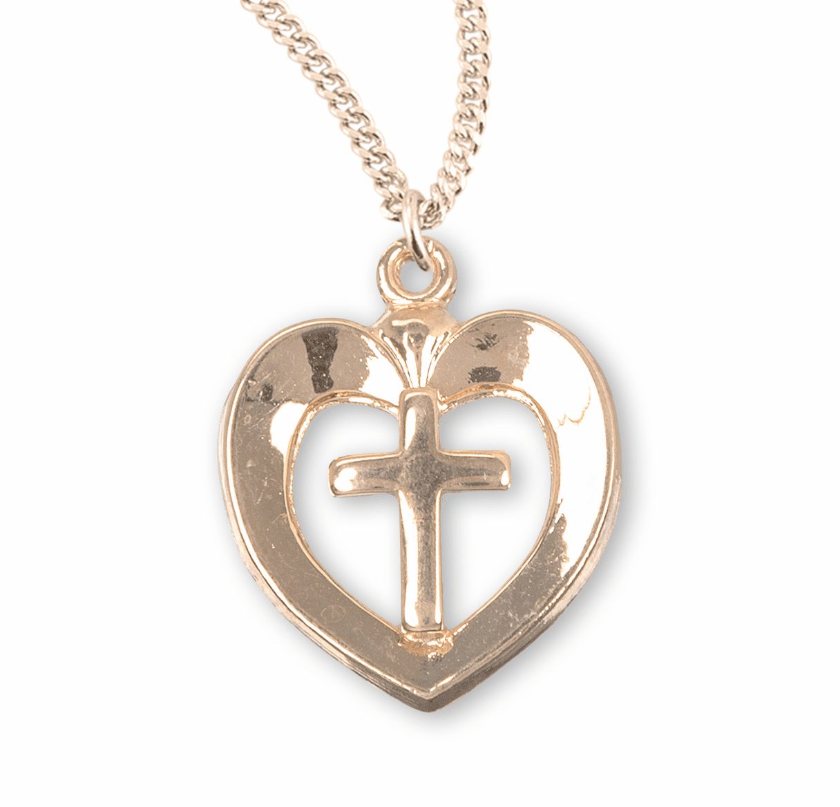 Open Heart w/Cross Center Necklace by HMH Religious