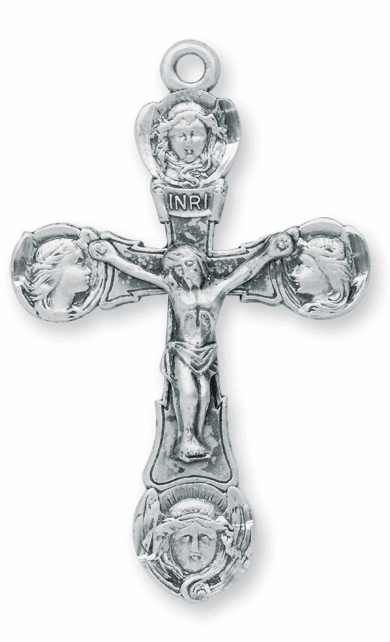 Ornate Holy Angels Tip Sterling Silver Crucifix Rosary Part by HMH Religious