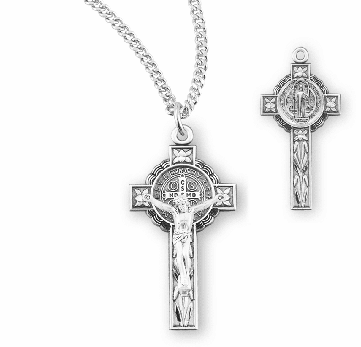 Ornate St Benedict Sterling Silver Crucifix Necklace by HMH Religious