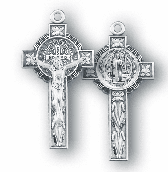 Ornate St Benedict Sterling Silver Crucifix Rosary Part by HMH Religious