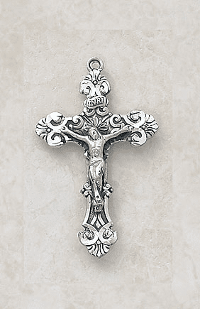 Ornate Sterling Silver Crucifix Necklace by Creed Jewelry