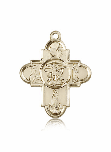Pendant Our Lady 14kt Gold 5-Way Cross Medal Pendant
