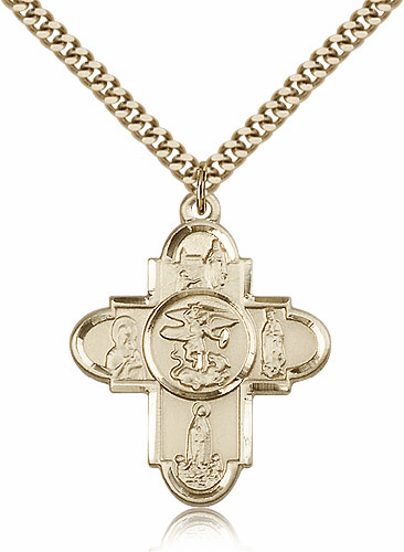 Our Lady 14kt Gold Filled 5-Way Cross Medal by Bliss