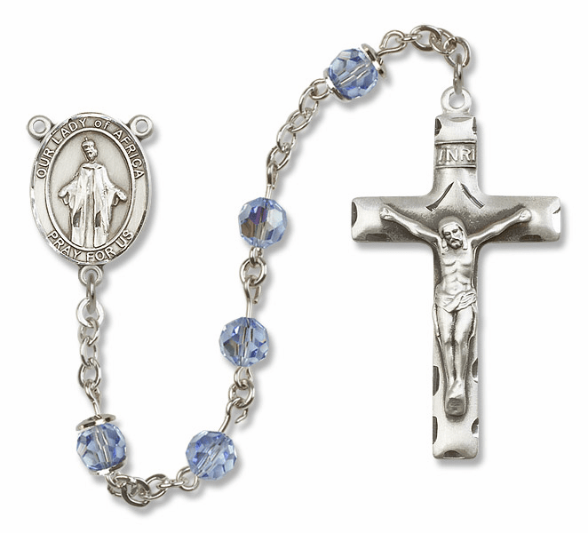 Our Lady of Africa Lt Sapphire Swarovski Sterling Silver Prayer Rosary by Bliss
