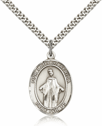 Our Lady of Africa Pewter Patron Saint Catholic Necklace by Bliss