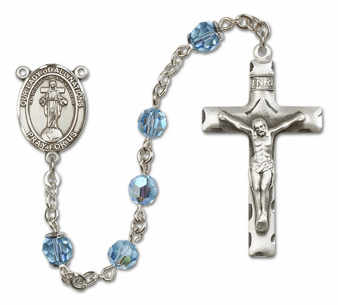 Our Lady of All Nations Aqua Swarovski Sterling Silver Prayer Rosary by Bliss