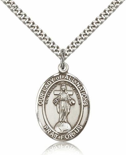 Our Lady of All Nations Pewter Patron Saint Catholic Necklace by Bliss
