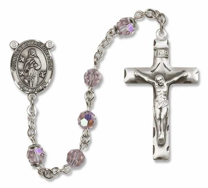 Our Lady of Assumption Lt Amethyst Swarovski Sterling Rosary by Bliss
